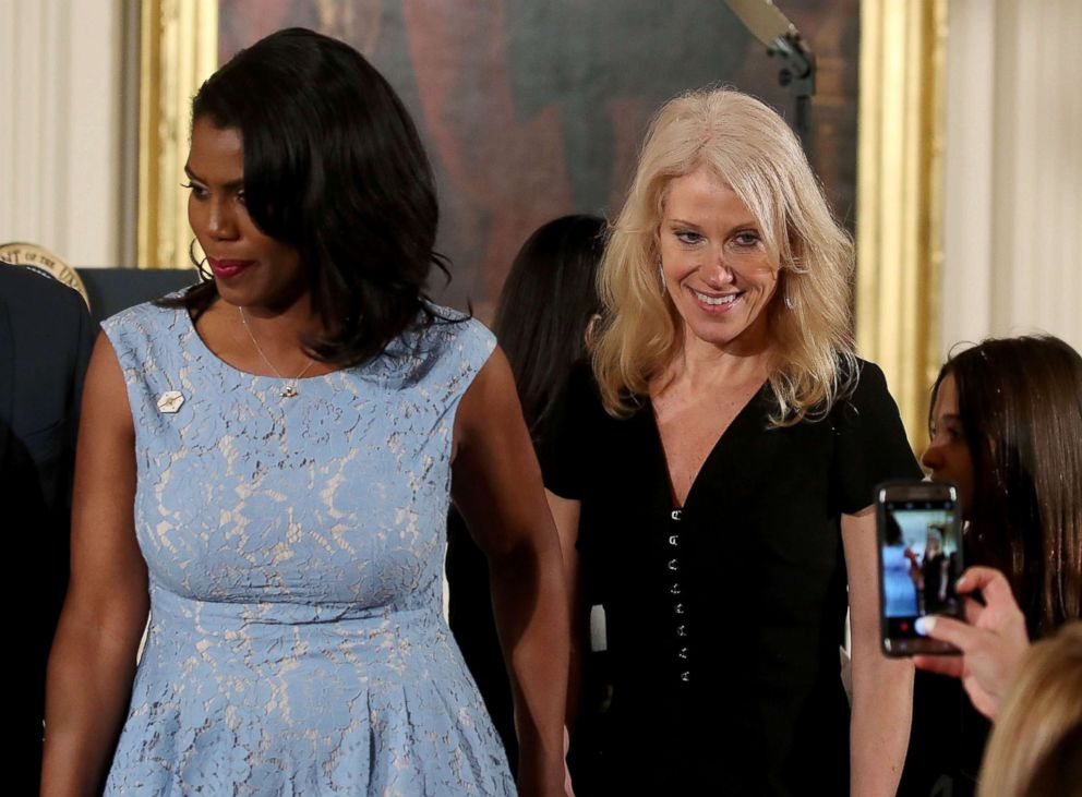 PHOTO: Counselor to the President Kellyanne Conway and Omarosa Manigault, left, attend an event celebrating Womens History Month, in the East Room at the White House, March 29, 2017, in Washington, DC.