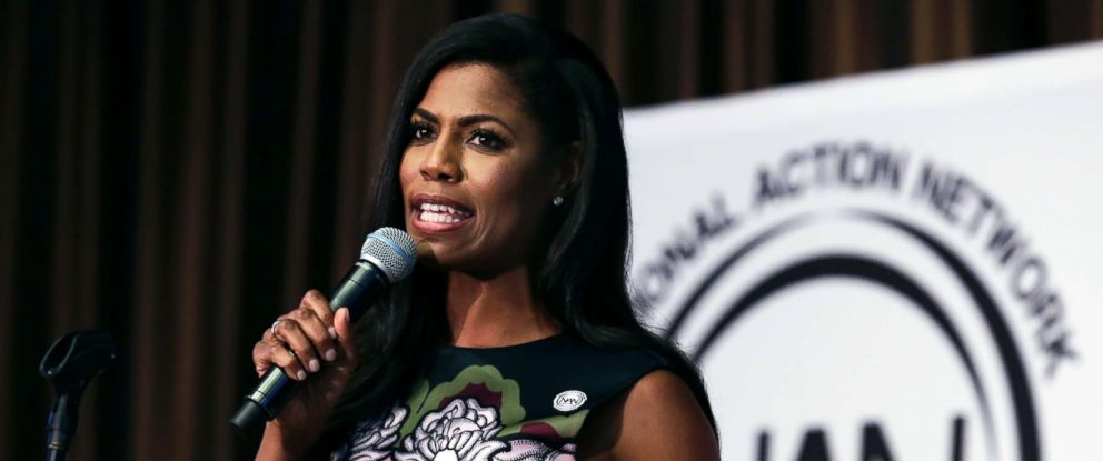 PHOTO: Omarosa Manigault speaks at the Womens Power Luncheon of the 2017 National Action Network convention in New York, April 27, 2017.