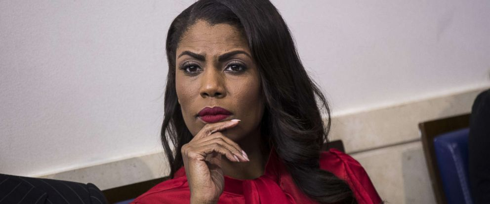 PHOTO: Then Director of Communications for the White House Public Liaison Office Omarosa Manigault Newman listens during the daily press briefing at the White House, Oct. 27, 2017, in Washington, DC.