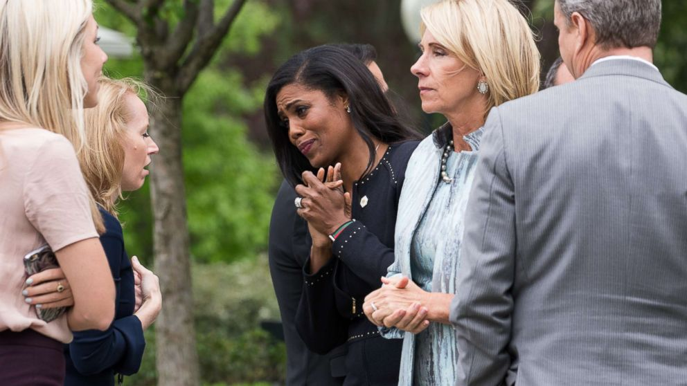 Omarosa Manigault speaks to attendees at President Trump's press conference with members of the GOP on the passage of legislation to roll back the Affordable Care Act in the Rose Garden of the White House, May 4, 2017.