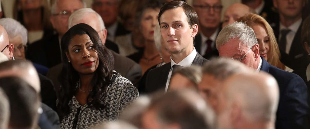 PHOTO: Omarosa Manigault and Jared Kushner attend a Medal of Honor ceremony in the East Room of the White House, Oct. 23, 2017 in Washington.