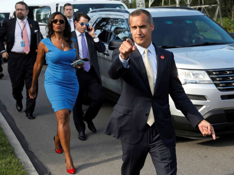 PHOTO: Omarosa Manigault walks to an event for veterans in Struthers, Ohio with Corey Lewandowski, Sebastian Gorka and Anthony Scaramucci, July 25, 2017.
