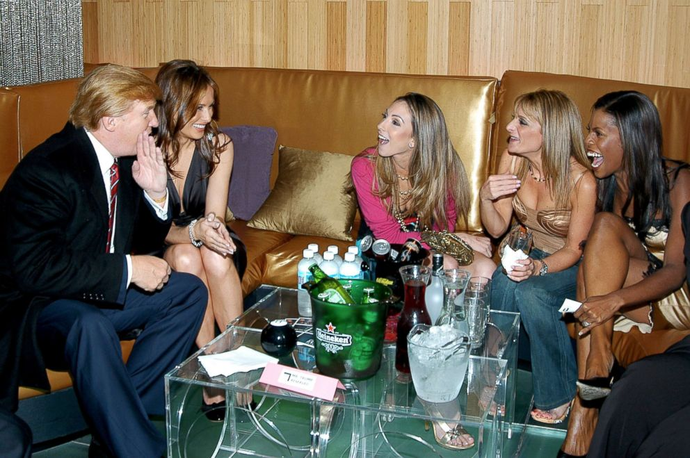 PHOTO: Donald Trump, Melenia Knauss, Katrina Campins, Heidi Bressler and Omarosa are pictured on Oct. 14, 2004.