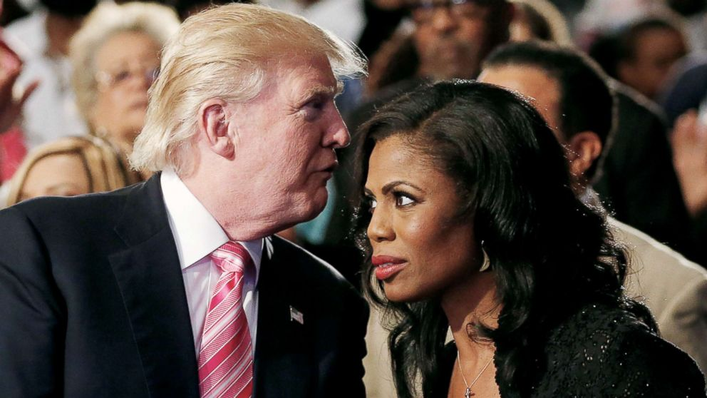 Republican presidential nominee Donald Trump and Omarosa Manigault attend a church service, in Detroit, Sept. 3 2016.