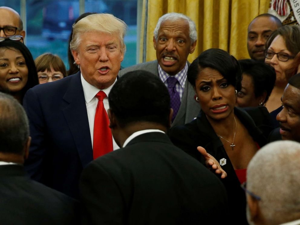 PHOTO: White House aide Omarosa Manigault (center R) and President Donald Trump (center L) with the leaders of dozens of historically black colleges and universities (HBCU) in the Oval Office at the White House in Washington, D.C., Feb. 27, 2017.