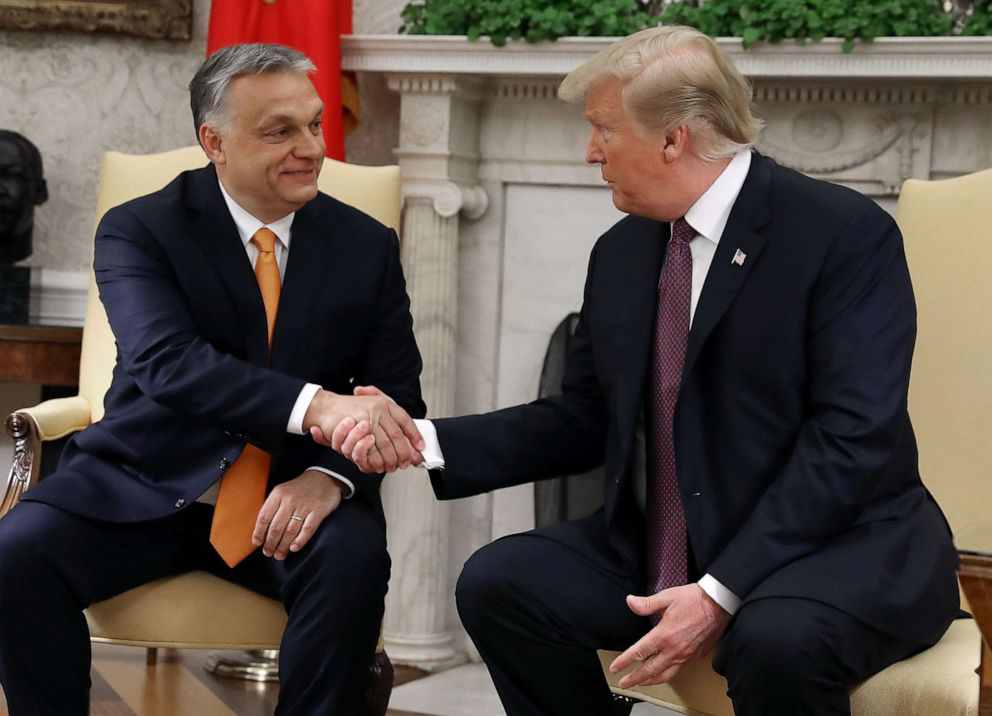 PHOTO: President Donald Trump shakes hands with Hungarian Prime Minister Viktor Orban during a meeting in the Oval Office, May 13, 2019, in Washington, DC.