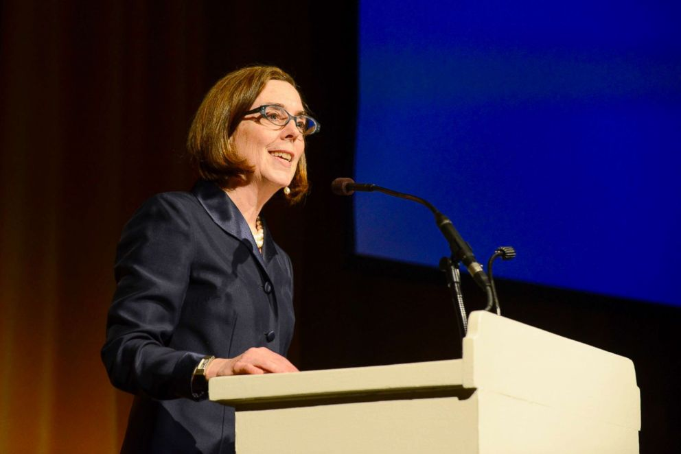 PHOTO: Oregon Governor Kate Brown speaks on stage at the Oregon Consular Corps Celebrate Trade Gala at the Portland Art Museum in Portland, Oregon, May 18, 2015.