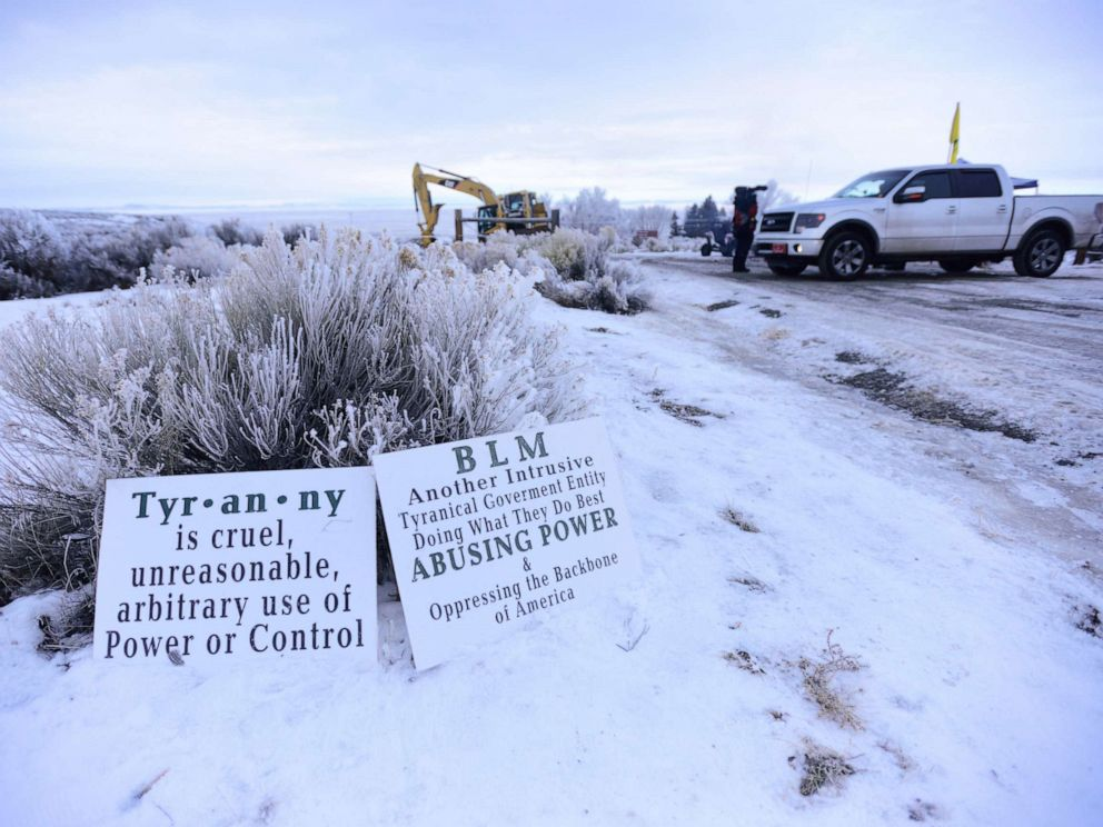 PHOTO: The entrance to the Malheur National Wildlife Refuge headquarters near Burns, Ore., pictured on January 9, 2016.