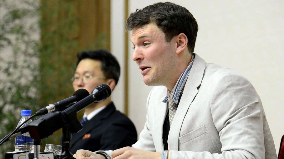 U.S. student Otto Frederick Warmbier, who was arrested for committing hostile acts against North Korea, speaks at a press conference in Pyongyang, Feb. 29, 2016.