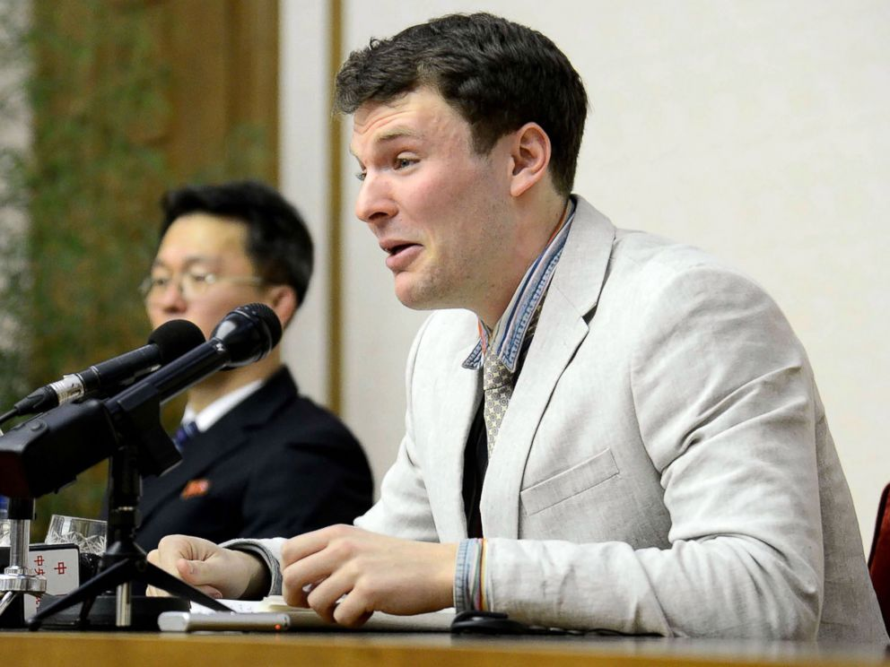 PHOTO: US student Otto Frederick Warmbier, who was arrested for committing hostile acts against North Korea, speaks at a press conference in Pyongyang, Feb. 29, 2016.