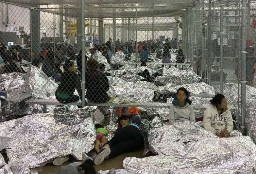 PHOTO: Overcrowding of families observed by the Office of Inspector General, June 11, 2019, at Border Patrols McAllen, TX, Centralized Processing Center.
