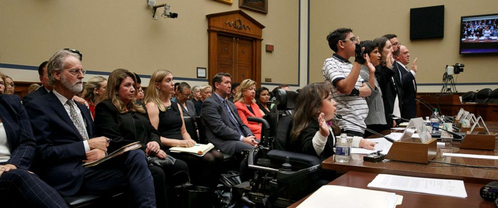PHOTO: Witnesses including from left, Maria Isabel Bueso, Jonathan Sanchez, Shoba Sivaprasad Wadhia, Fiona Danaher, Anthony Marino and Thomas Homan are sworn in at a House Oversight subcommittee hearing, Sept. 11, 2019, in Washington.