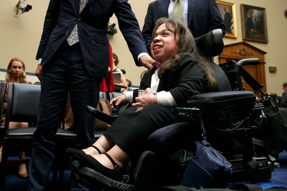 PHOTO: Maria Isabel Bueso, 24, of Concord, Calif., left, leaves a House Oversight subcommittee hearing, Sept. 11, 2019, in Washington.