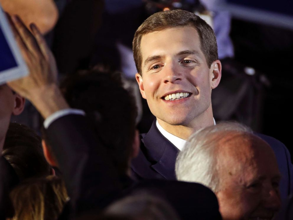 PHOTO: Conor Lamb celebrates with his supporters at his election night party in Canonsburg, Pa., early Wednesday, March 14, 2018.