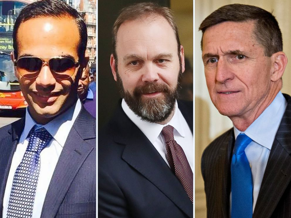 PHOTO: A combination image shows George Papadopoulos from his Linkedin profile, Richard Gates leaving court in 2018 and Michael Flynn at the White House in 2017.