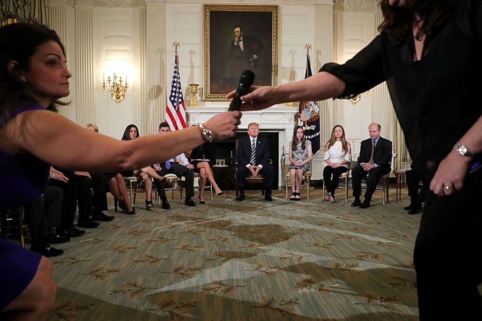 PHOTO: President Donald Trump holds a listening session with students survivors of mass shootings, their parents and teachers in the State Dining Room at the White House, Feb. 21, 2018, in Washington, D.C.