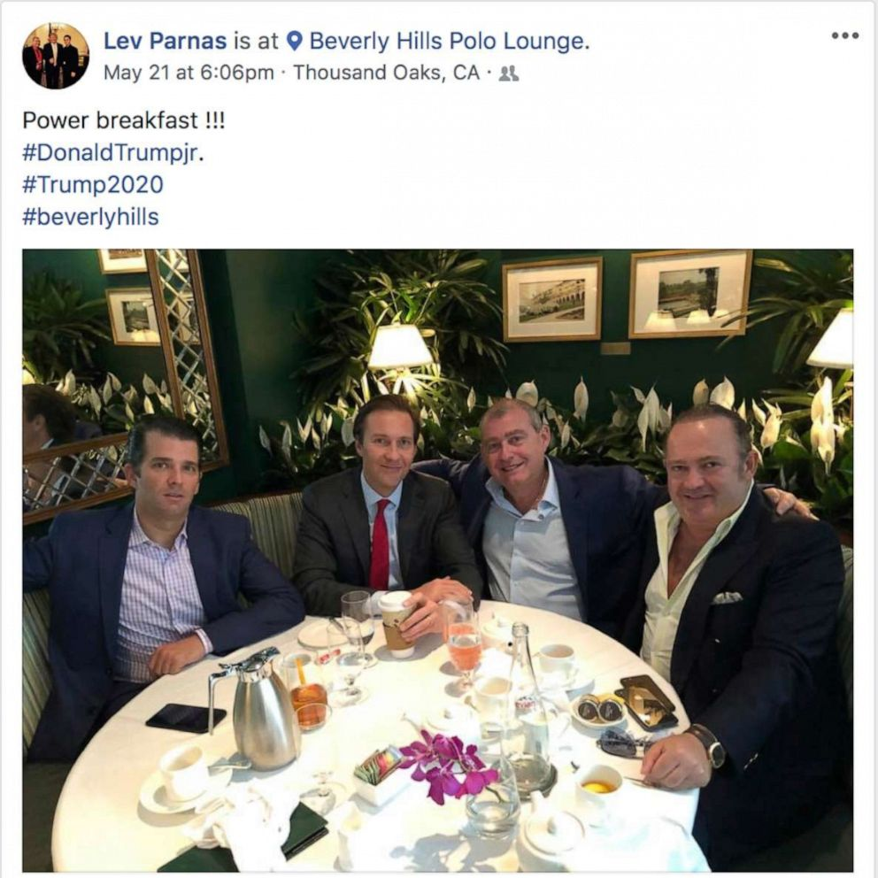 PHOTO: This Facebook screen shot provided by The Campaign Legal Center, shows from left, Donald Trump, Jr., Tommy Hicks, Jr., Lev Parnas and Igor Fruman, posted on May 21, 2018.