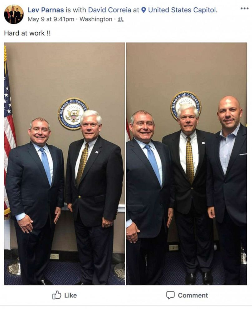 PHOTO: This Facebook screen shot provided by The Campaign Legal Center, shows from left, Lev Parnas with former Rep. Pete Sessions. In the right photo, Lev Parnas, former Rep. Pete Sessions, and David Correia, in Washington, D.C., posted on May 9, 2018.