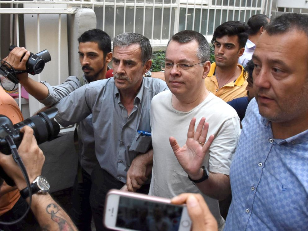 Brunson reacts as he arrives at his home after being released from the prison in Izmir Turkey