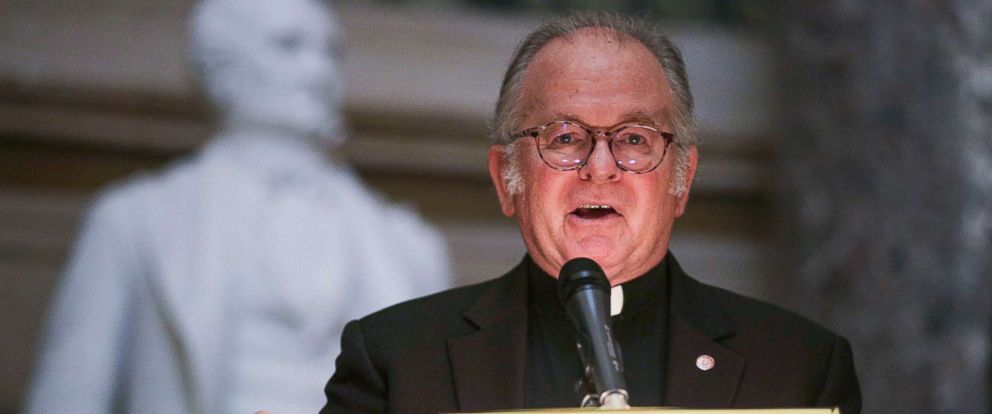 PHOTO: Father Patrick Conroy speaks during a memorial service at the National Statuary Hall of the Capitol Sept. 27, 2017, in Washington.