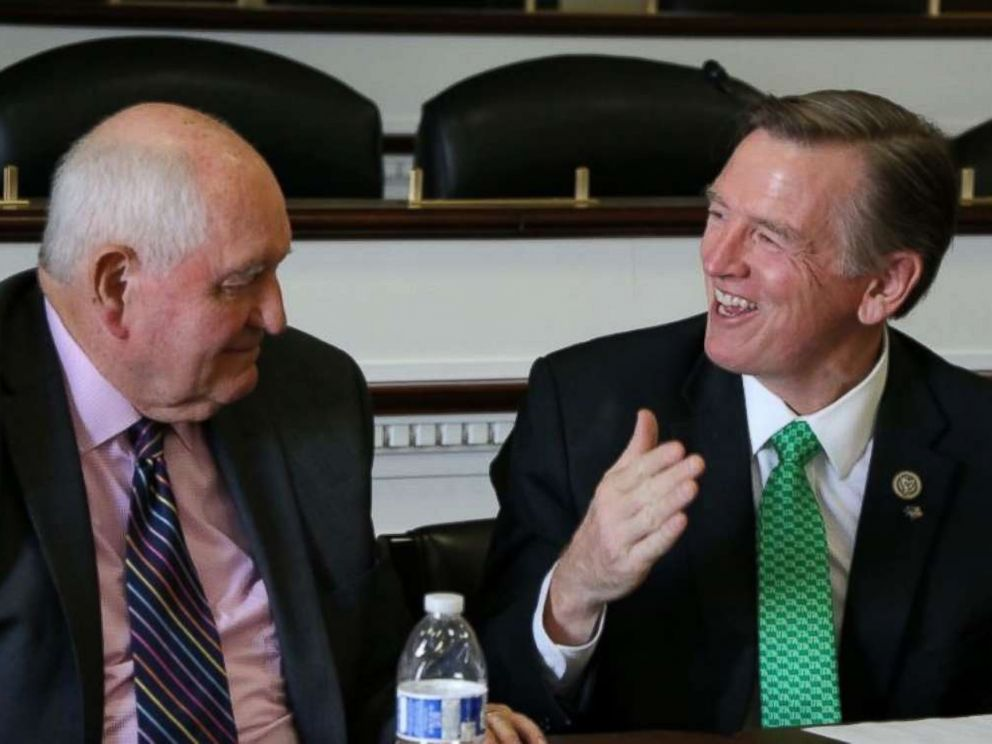 PHOTO: Rep. Paul Gosar, right, is joined by Secretary of Agriculture Sonny Perdue at a Western Caucus monthly meeting on Thursday, Sept. 6, 2018.