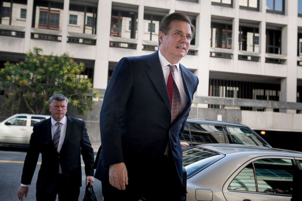 PHOTO: Paul Manafort arrives for a hearing at US District Court on June 15, 2018 in Washington.
