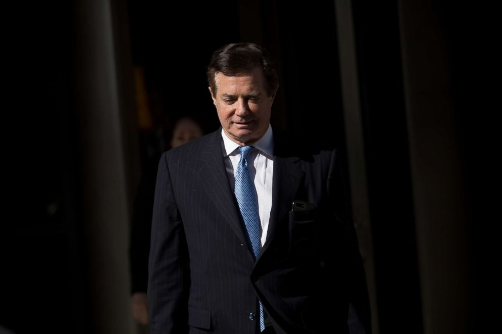 PHOTO: Paul Manafort, former campaign manager for Donald Trump, exits the E. Barrett Prettyman Federal Courthouse, Feb. 28, 2018, in Washington, DC.