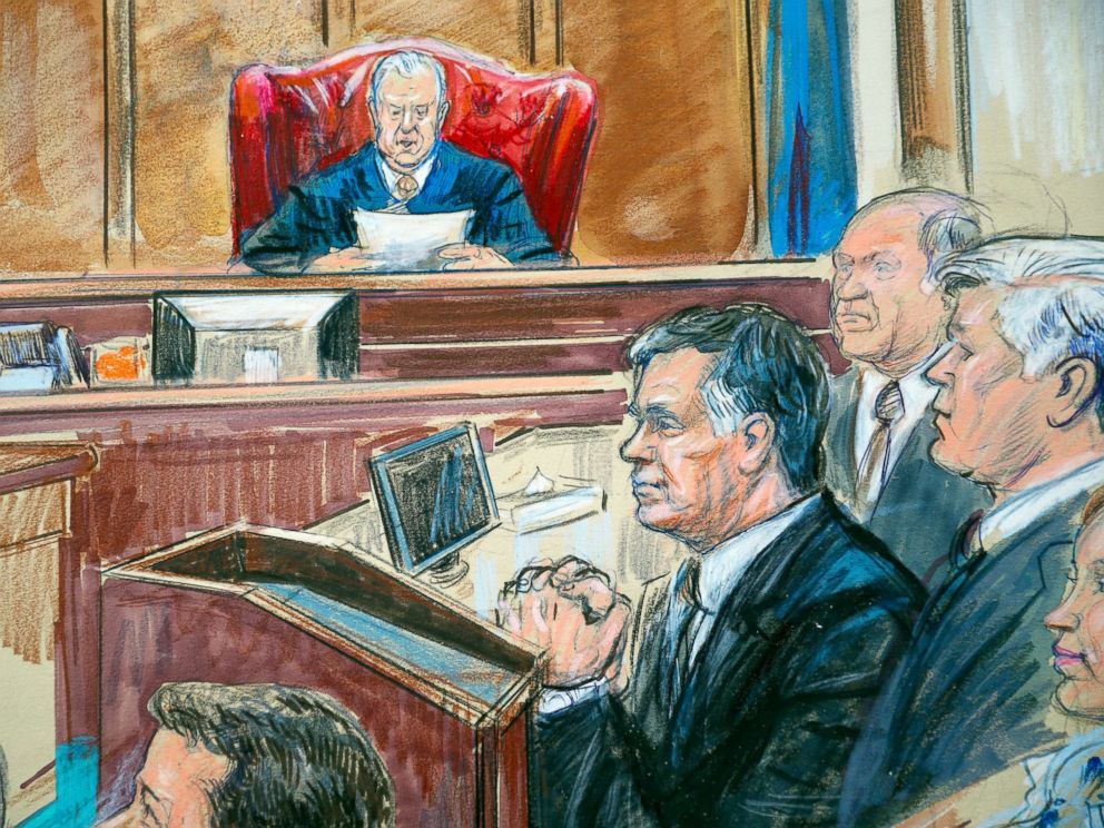 PHOTO: This courtroom sketch shows Paul Manafort listening to U.S. District court Judge T.S. Ellis III at federal court in Alexandria, Va., Tuesday, Aug. 21, 2018.