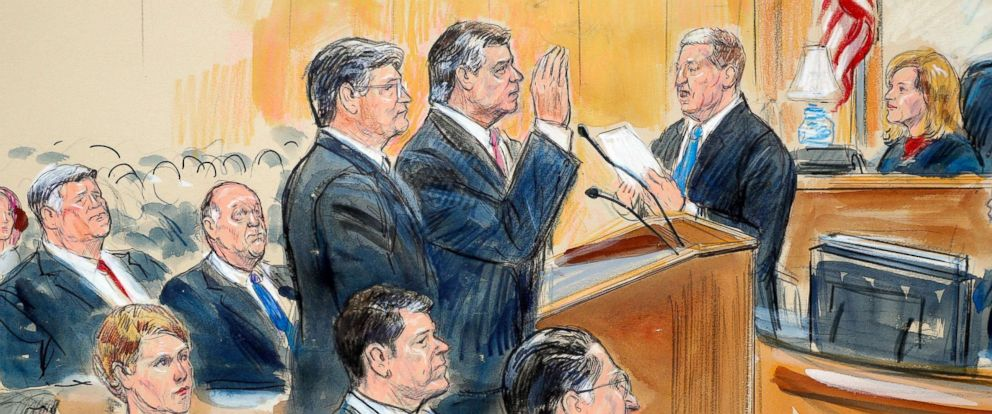 PHOTO: This courtroom sketch depicts former Donald Trump campaign chairman Paul Manafort raising his hand before U.S. District Judge Amy Berman Jackson at federal court in Washington, Sept. 14, 2018.