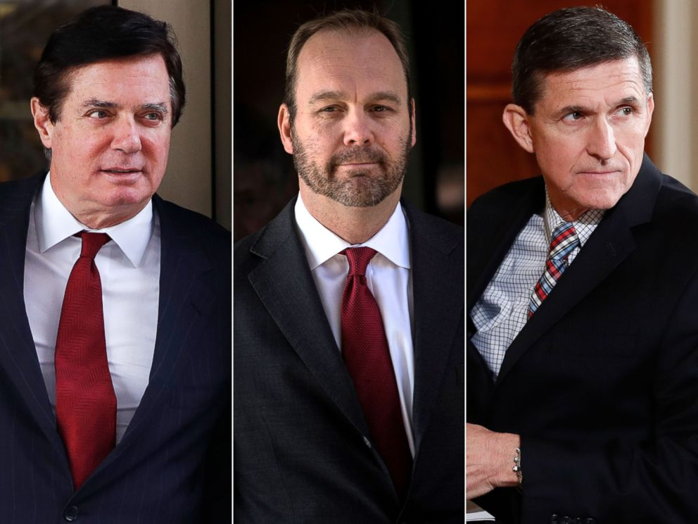 PHOTO: Paul Manafort on Nov. 6, 2017. | Rick Gates on Dec. 11, 2017. | Michael Flynn on Feb. 10, 2017.