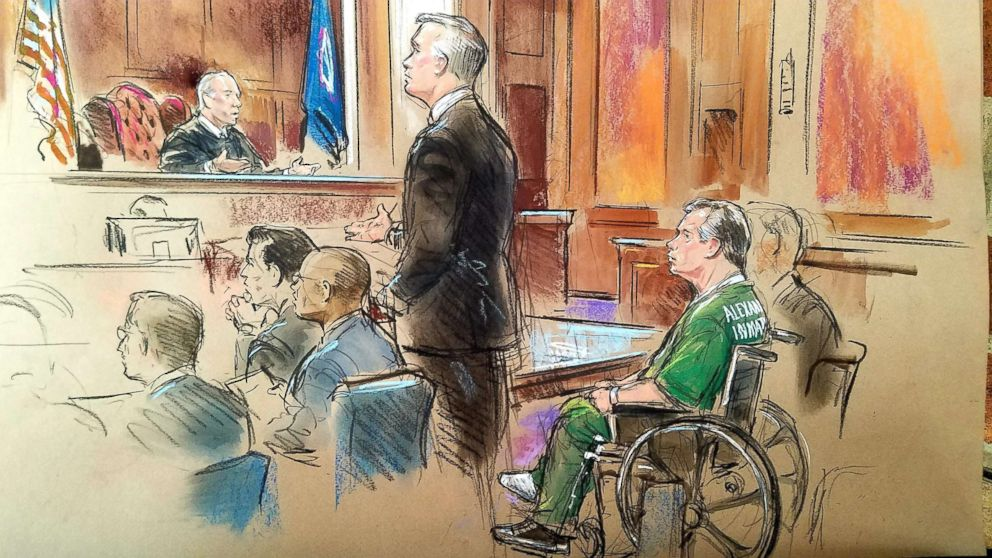 Former Trump campaign chairman Paul Manafort, appears in a wheelchair at the Albert V. Bryan United States Courthouse Oct. 19, 2018 in Alexandria, Virginia.