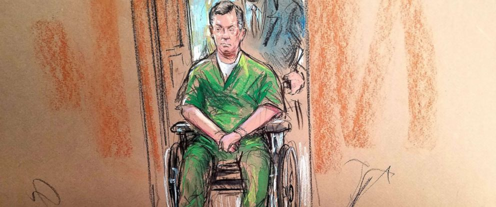 PHOTO: Former Trump campaign chairman Paul Manafort, appears in a wheelchair at the Albert V. Bryan United States Courthouse Oct. 19, 2018 in Alexandria, Virginia.