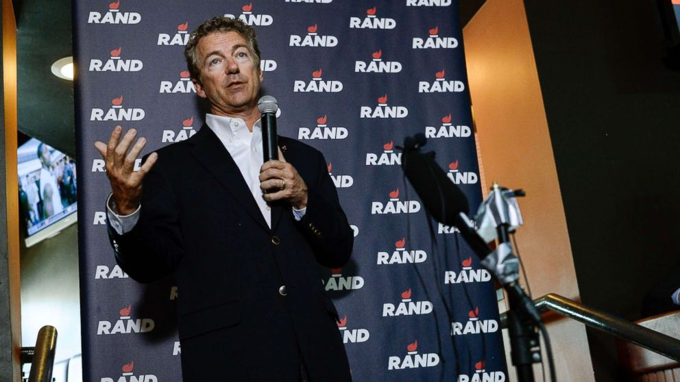 Sen. Rand Paul, GOP presidential candidate addresses his supporters during a campaign event, June 29, 2015, at Choppers Sports Bar & Grill in Denver.