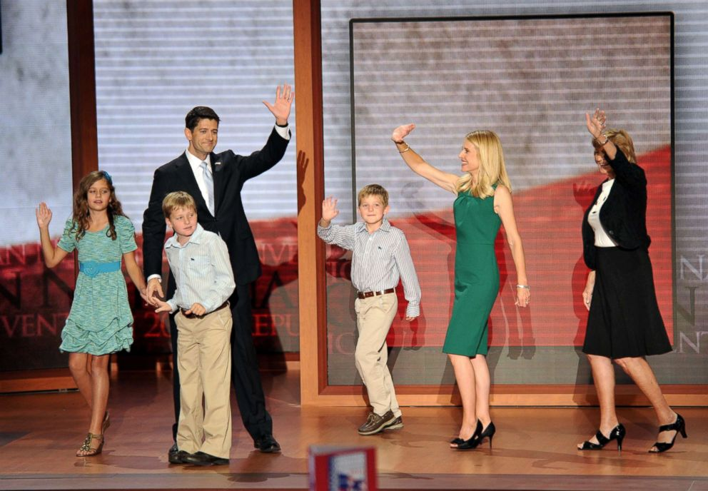 PHOTO: Republican vice presidential nominee Paul Ryan with his wife Janna Ryan, mother Betty Douglas, right, and children (L-R) Liza, Charlie and Sam after Ryans speech at the Tampa Bay Times Forum in Tampa, Fla., on Aug. 29, 2012.