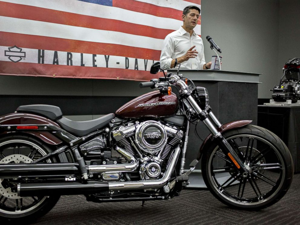 PHOTO: House Speaker Paul Ryan speaks during a news conference following a tour of the Harley-Davidson Inc. facility in Menomonee Falls, Wis., Sept. 18, 2017.
