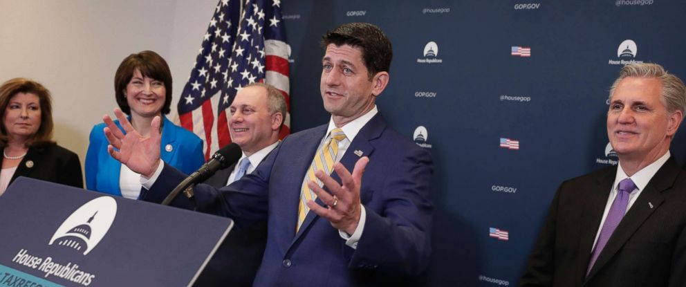 Speaker of the House Paul Ryan and from left, Rep. Karen C. Handel, Rep. Cathy McMorris Rodgers, House Majority Whip Steve Scalise, and Majority Leader Kevin McCarthy in Washington, D.C. on March 6, 2018.