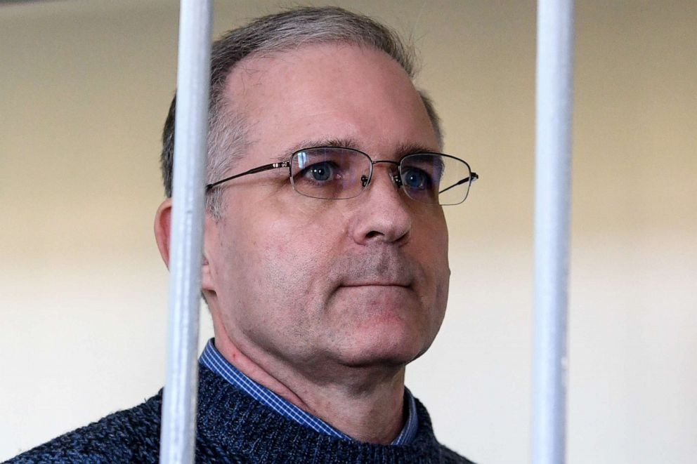 Paul Whelan, a former U.S. Marine, accused of spying and arrested in Russia, stands inside a defendants' cage during a hearing at a court in Moscow in this Aug. 23, 2019 file photo. Paul Whelan, a former U.S. Marine, accused of spying and arrested in Russia, stands inside a defendants' cage during a hearing at a court in Moscow in this Aug. 23, 2019 file photo.Kirill Kudryavtsev/AFP via Getty Images
