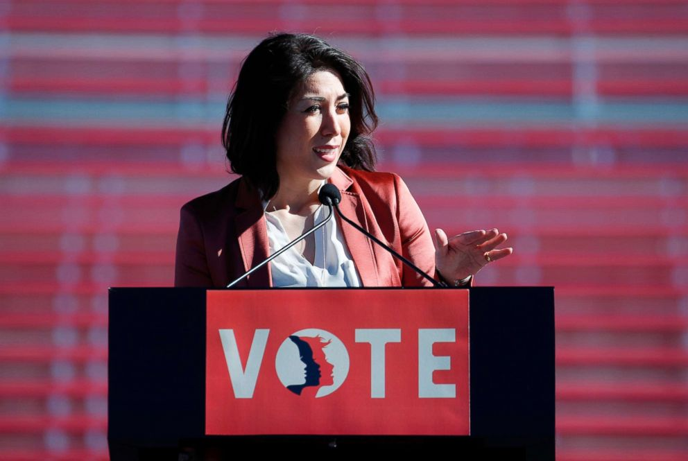 PHOTO: Rep. Paulette Jordan speaks during a womens march rally in Las Vegas, Jan. 21, 2018.