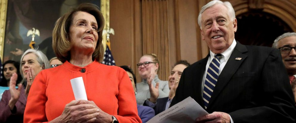 "PHOTO: House Speaker Nancy Pelosi and House Majority Leader Steny Hoyer attend a news conference to reintroduce the H.R.7 ""Paycheck Fairness Act"" on Capitol Hill in Washington, Jan. 30, 2019."