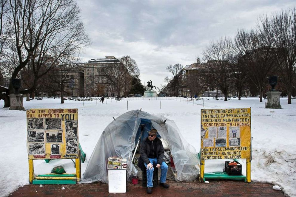 PHOTO: The White House Peace Vigil tent, setup in 1981, is seen near the White House on Jan. 26, 2016 in Washington, DC.
