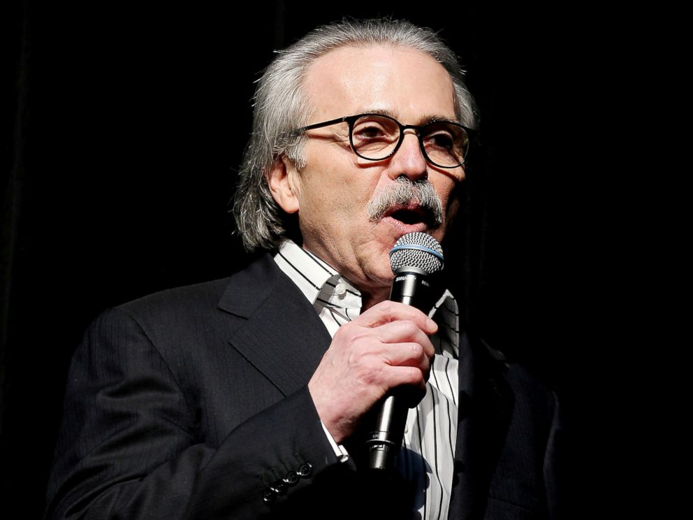 PHOTO: David Pecker, Chairman and CEO of American Media speaks at the Shape and Mens Fitness Super Bowl Party, in New York, Jan. 31, 2014.