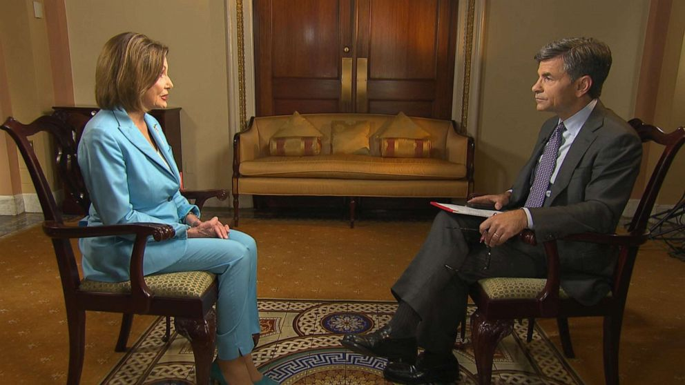 PHOTO: House Speaker Nancy Pelosi sits down for an interview with ABCs George Stephanopoulos, Oct 2, 2019.