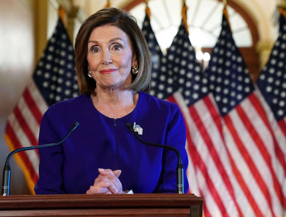 PHOTO: U.S. House Speaker Nancy Pelosi (D-CA) speaks to the media at the Capitol Building September 24, 2019 in Washington, DC.