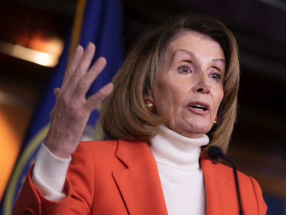 PHOTO: House Minority Leader Nancy Pelosi, D-Calif., talks to reporters during a news conference at the Capitol, Nov. 15, 2018.