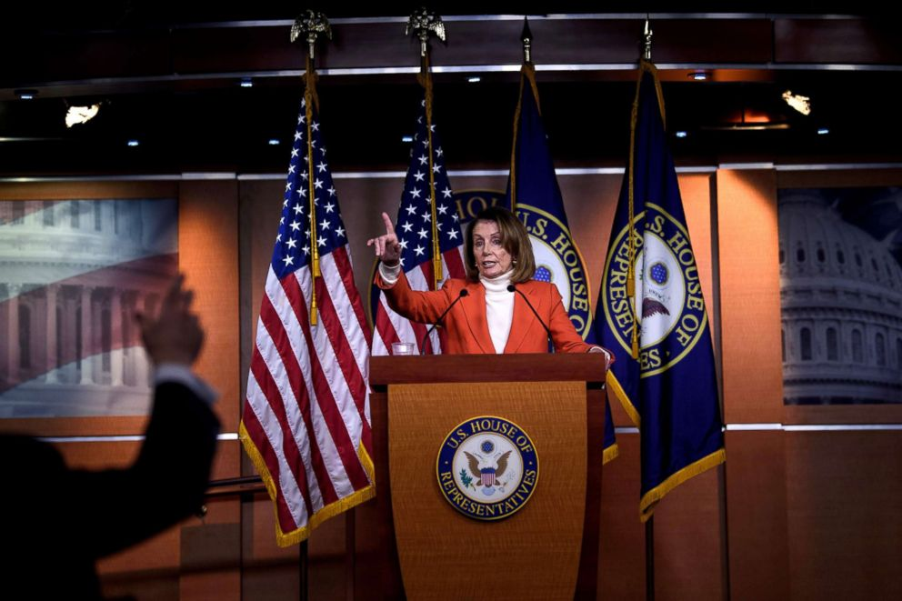 PHOTO: House Minority Leader Nancy Pelosi (D-CA) speaks to reporters on Capitol Hill, Nov. 15, 2018.