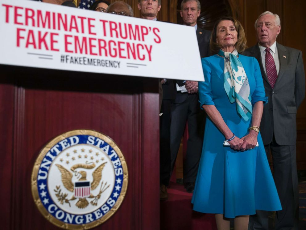 PHOTO: House Speaker Nancy Pelosi of Calif., listens to a speaker about a resolution to block President Donald Trumps emergency border security declaration on Capitol Hill, Feb. 25, 2019.