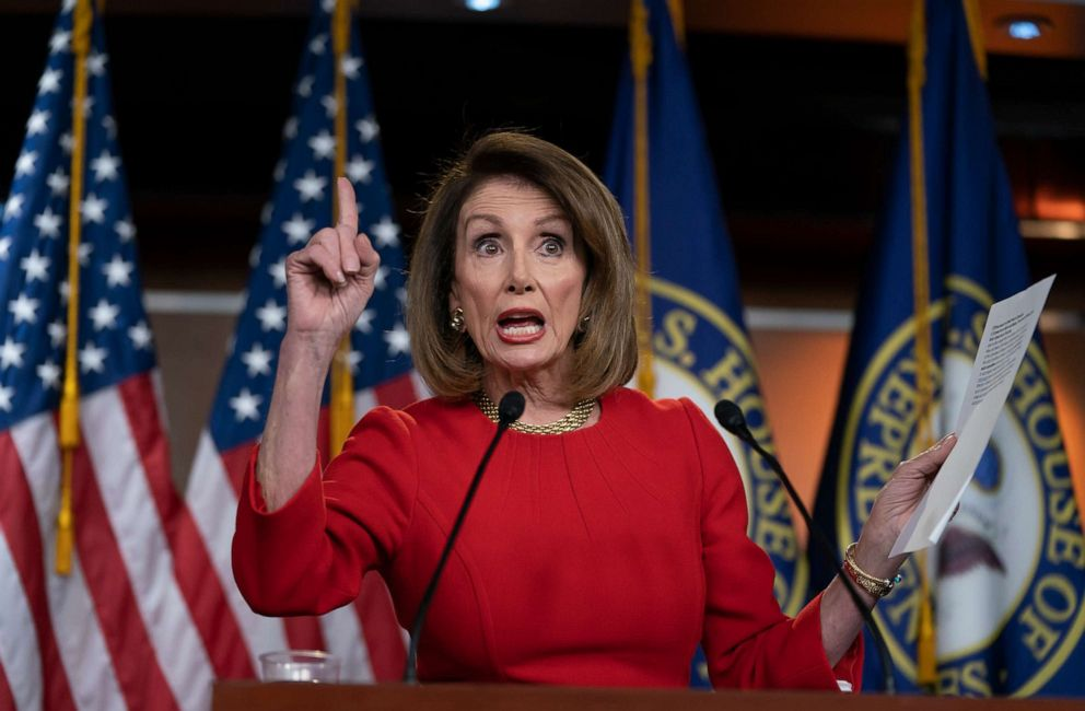 PHOTO: Speaker of the House Nancy Pelosi speaks during a news conference on Capitol Hill, April 4, 2019.