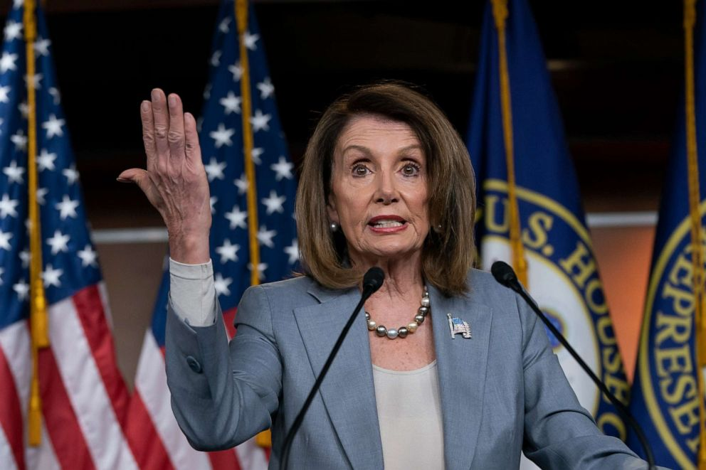 PHOTO: Speaker of the House Nancy Pelosi, D-Calif., speaks on Capitol Hill, May 9, 2019.
