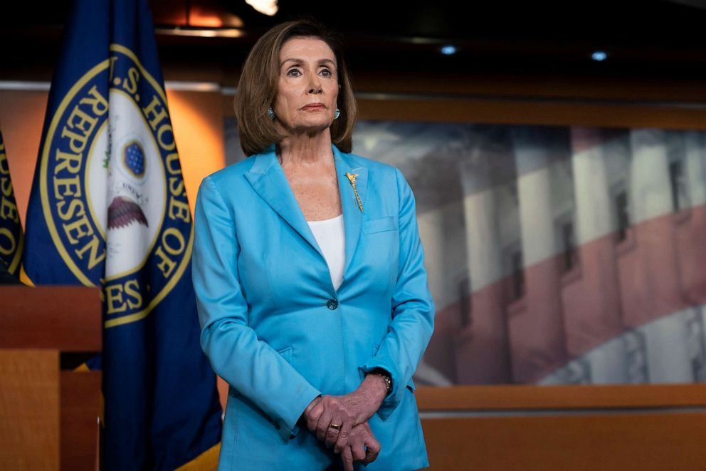 PHOTO: Speaker of the House Nancy Pelosi pauses during a news conference at the Capitol in Washington, D.C., Oct. 2, 2019.