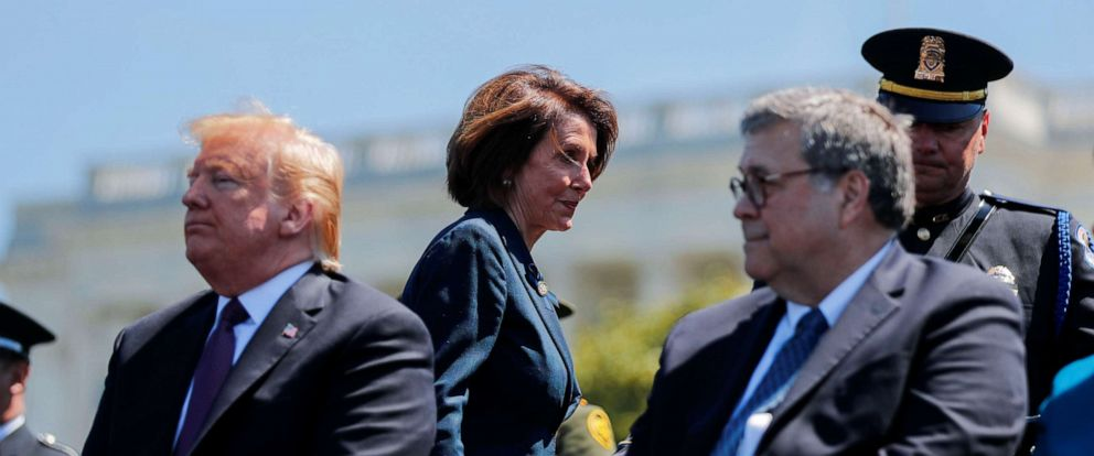 PHOTO: Speaker of the House Nancy Pelosi walks behind President Donald Trump and Attorney General William Barr as they all attend the 38th Annual National Peace Officers Memorial Service on Capitol Hill, May 15, 2019.